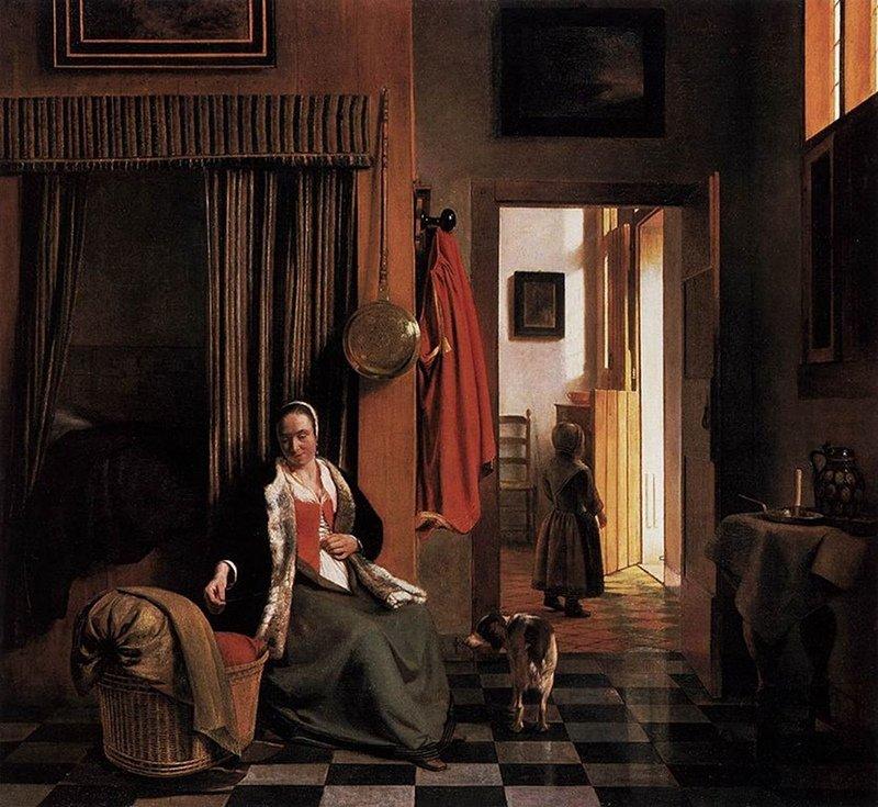Pieter de Hooch - Mother Lacing Her Bodice beside a Cradle (1670)