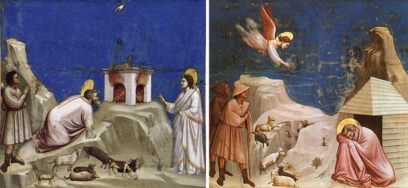 Giotto - The Sacrifice of Joachim and The Dream of Joachim (1304-6)