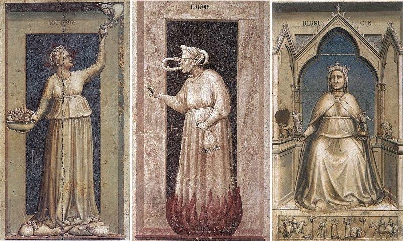 Giotto's Charity, Envy, and Justice freskoları (1304-6)