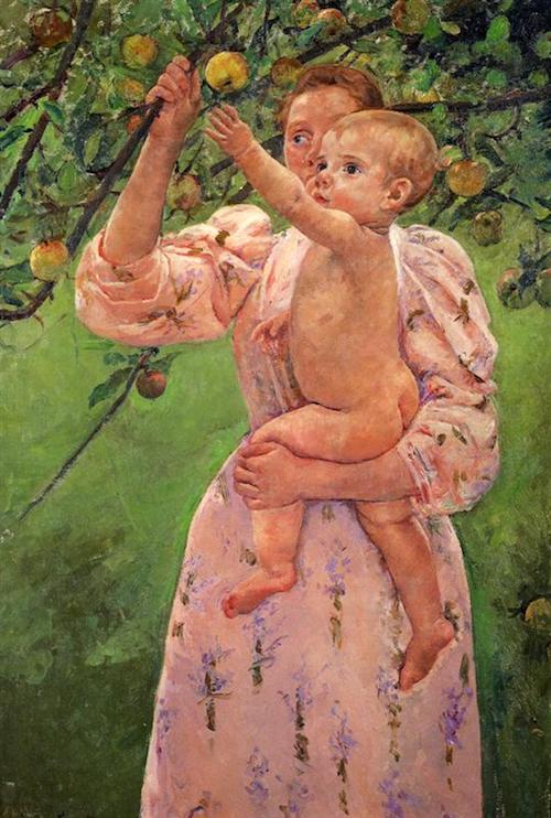 baby reaching for an apple 1893