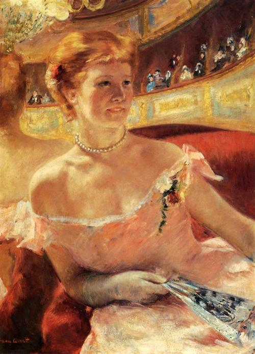 woman with a pearl necklace in a loge 1879